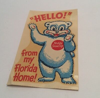 Vintage Teddy Snow Crop Advertising Food Florida Frozen Food Old Travel Decal