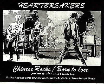 Very Rare Johnny Thunders & The Heartbreakers 'chinese Rocks/born To Lose' Flyer