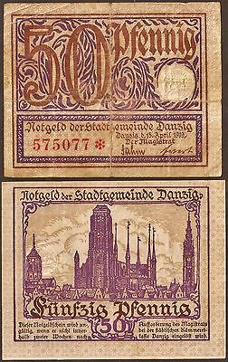 Germany / Danzig 50 pfg. Banknote from German City State. Used Condition, Rare.