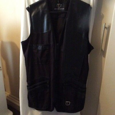 Top Gun Shooting Vest Black Left Handed Leather and Cotton