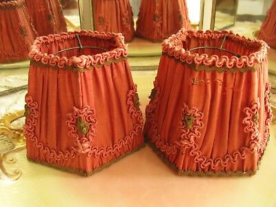 Antique Pair Red Silk Hm Wall/sconce/lamp Shades, Ruching & Metallic Trims!