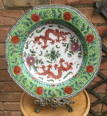 Antique 19th Century Chinese Octagonal Hand Painted Soup Dish Plate Bowl Dragons