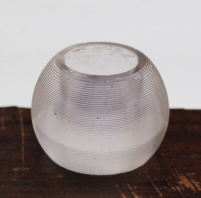 Antique VICTORIAN RIBBED GLASS MATCH STRIKER PAPERWEIGHT Vintage