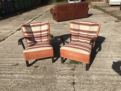 Danish armchairs with Curved arms 1940's