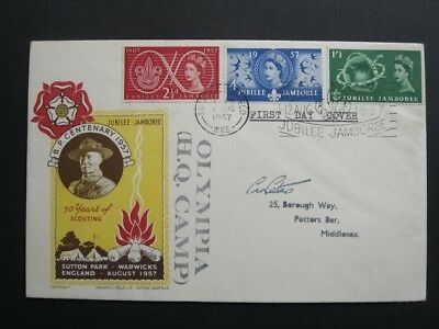 GB 1957 Boy Scout Jubilee Jamboree First Day Cover, Sutton Coldfield, HQ Camp