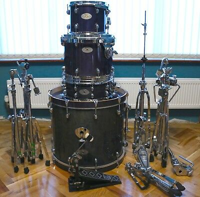 Premiere Artist Birch drum kit in blue with hardware & Protection Racket cases