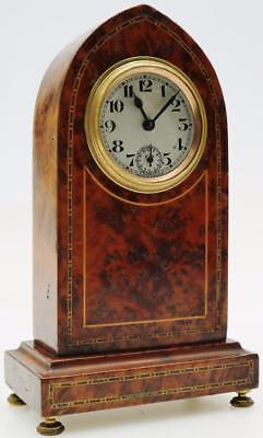 Antique Brevete Amboyna Wood Travelling Desk Mantel Clock Lancet Alarm Clock