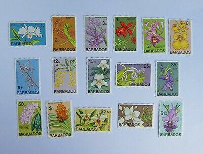Barbados Orchid Stamps 1974 ~7  16 of 18 stamps 1c to $10
