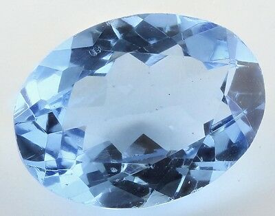 LARGE 16x12mm OVAL-FACET SWISS-BLUE NATURAL BRAZILIAN TOPAZ GEMSTONE (APP £295)