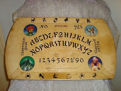 Vintage MYSTIC Tray HASKO Ouija Board Haskelite Lithographed Wood Chicago Spooky