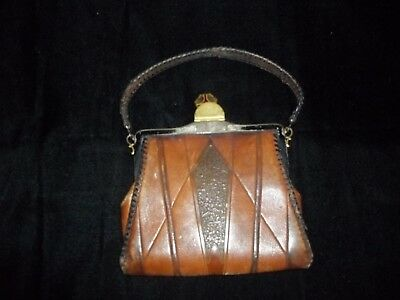 NOCOMA small ladies LEATHER hand bag~early 1900's~ART NOUVEAU ERA-Hand Tooled