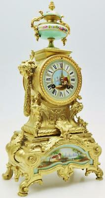 Rare French Gilt Turquoise Sevres Porcelain 8 Day Striking Carriage Mantel Clock