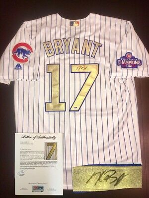 Kris Bryant Signed Gold World Series Champs 2016 Chicago Cubs Jersey PSA LOA