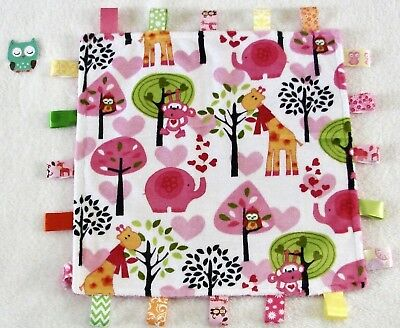 Double Minky! Jungle Minky & Pink Minky Tag Taggie Security Blanket, Baby Girl