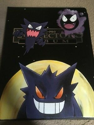 Hand Painted Pokemon Card Folder/binder 180 slots. Gengar, Haunter, Gastly
