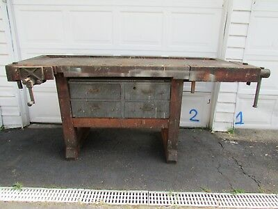 Antique Cabinet Makers Workbench Wood Working Table Primitive