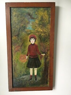 VERY Old Original Oil Folk Art Painting 'October', canvas with hand made frame