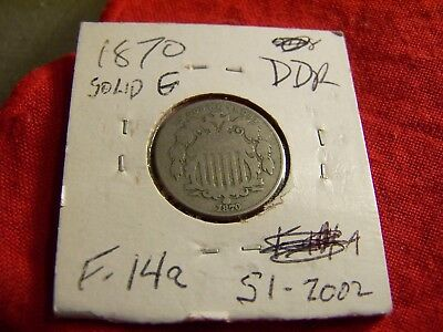 Solid Good 1870 Shield Nickel, F-14a, Doubled Die Reverse (DDR)   VERY SCARCE!!