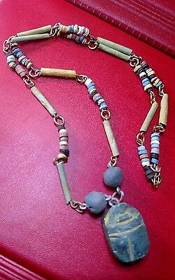 """EGYPTIAN necklace Terracotta mummy Beads 20"""" with Beetle Scarab Amulet /1"""