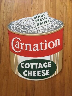 Rare 1950-60 --  Carnation Cottage Cheese Metal Sign - Die Cut - Great Condition