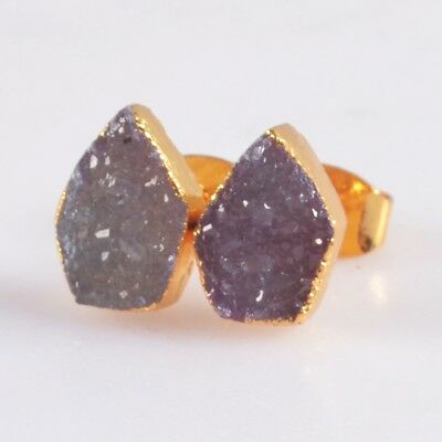 10x7mm Hot Pink Agate Druzy Geode Stud Earrings Gold Plated T047646