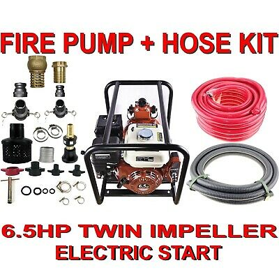 6.5HP Twin Impeller Electric Start Water Fire Fighting Fighter Pump And Hose Kit