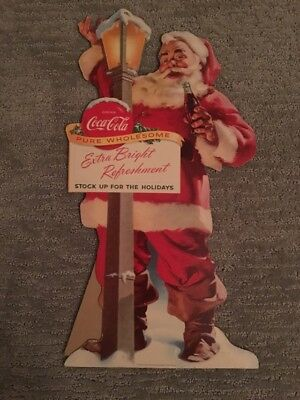 1955 Coca Cola Santa Cardboard Sign Easel Back Extra Bright Refreshment !!!