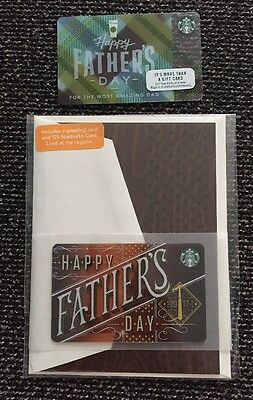 2 New Starbucks Fathers Day 2017 Gift Cards Lot Greeting Card Limited No Value
