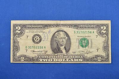 1976 American $2 Two Dollar Bill Federal Reserve Note. G31702156A. Ungraded