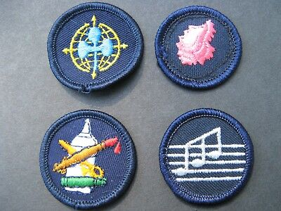 Girl Guides Canada  4 Merit Badges Patch Scouts Music Arts Shell