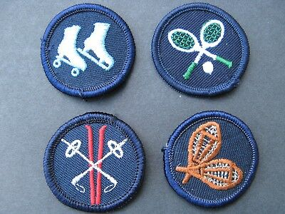 Girl Guides Canada  4 Merit Badges Patch Scouts Tennis Skating Skiing Snowshoes