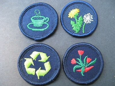 Girl Guides Canada  4 Merit Badges Patch Scouts Recycling Hospitality Botany
