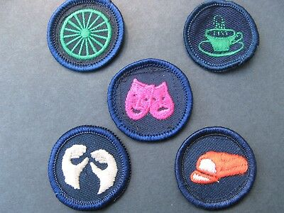 Girl Guides Canada  5 Merit Badges Patch Scouts Drama Baking Hospitality