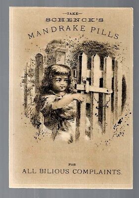 Schenck's Mandrake Pills late 1800's medicine trade card #B