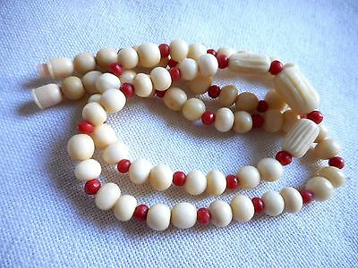 """Vintage carved cow bone bovine and genuine red coral necklace and earrings, 21"""""""