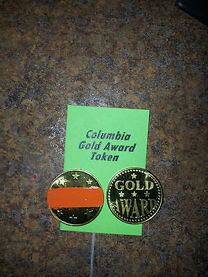"Lot of (4) COLUMBIA Gold Award Tokens  ""ORANGE"" for  Antique Slot Machine"