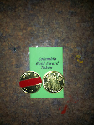 "Lot of (4) COLUMBIA Gold Award Tokens  ""RED"" for  Antique Slot Machine"