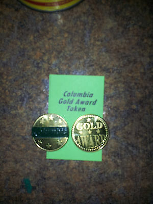 "Lot of (4) COLUMBIA Gold Award Tokens  ""DK GREEN"" for  Antique Slot Machine"