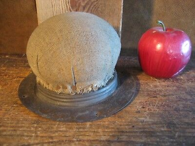 Large rareantique early cloth and tin table top quilting bee pin cushion