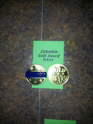 "Lot of (4) COLUMBIA Gold Award Tokens  ""BLUE"" for  Antique Slot Machine"