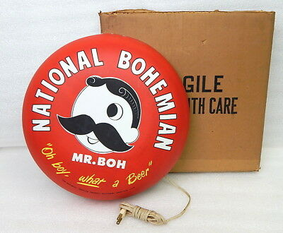 NEW Old Stock National Bohemian Mr Natty Boh Vintage Beer Lighted Sign Button