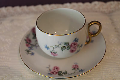 Limoges France Elite Works Sm Cup And Saucer - Picardy Rose