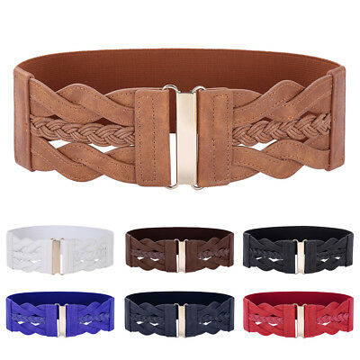 Brown Women Stretch Buckle Braided Waist Belt Wide PU Leather Elastic Waistband