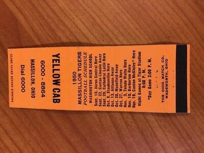 Vintage 1950 Cleveland Browns/massillon High Matchbook Schedule...nice Vhtf