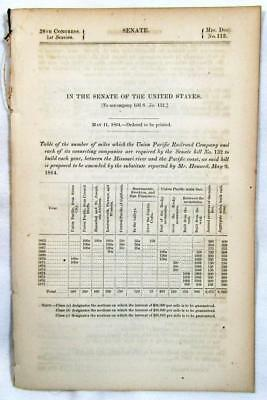 1864 UNION PACIFIC RAILROAD – Table of Miles Required to Construct Each Year
