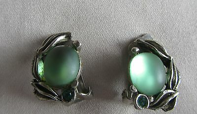 Vintage silver tone Gold Crest clip on earrings with green lucite beads