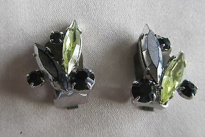 Vintage silver tone clip on earrings with black and lime rhinestones