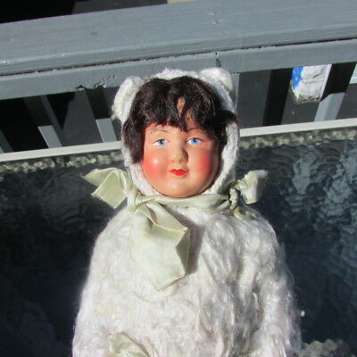 "Antique Doll Celluloid French Bunny Suit Turtle Mark 1800s 10"" Petitcollin"