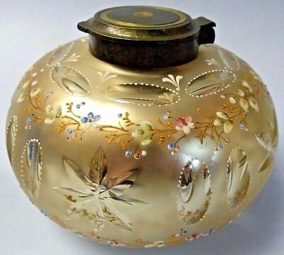 Stunning Early Mercury Glass Inkwell - Hand Painted - Museum Quality - Very Rare
