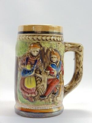 """Miniature Beer Stein 3"""" H Perfect Condition Unmarked Tan Green Blue Red"""